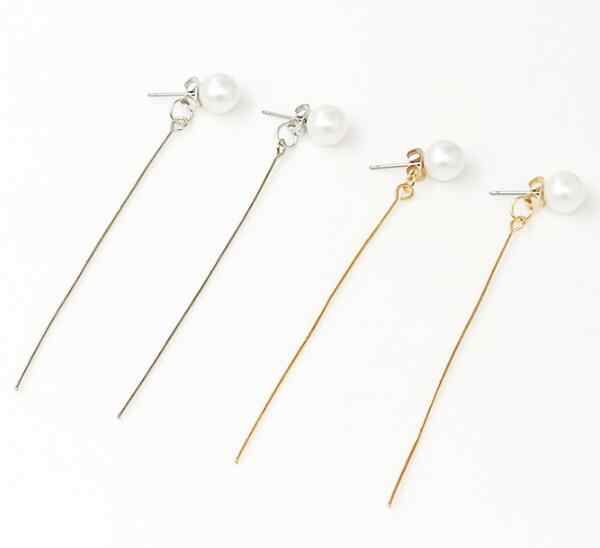 ED 437 2018 venta caliente en Europa y América perla antes y después de pendientes oreja larga línea de joyería femenina accesorios