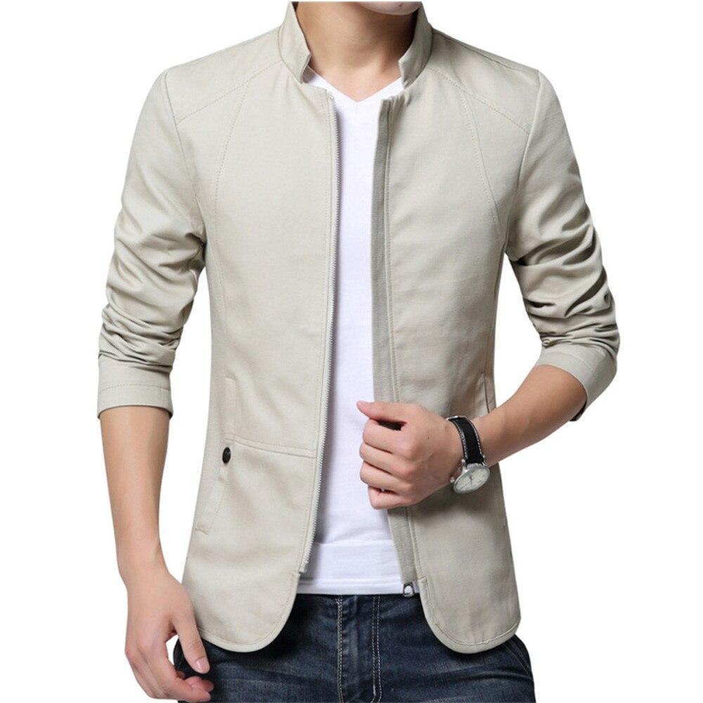 2018 brand men spring autumn casual jacket men's Slim fit cottoon jacket and coat Mens stander collar Beige jacket veste homme
