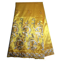100 Cotton Indian Embroidered Butterfly Pattern Raw George Silk Lace With Sequins