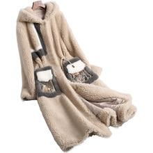 Luxury Lady Real Wool Blend Fur Coat With Hoody Winter Genuine Women Fur X-Long Trench Outerwear Coats LF5124