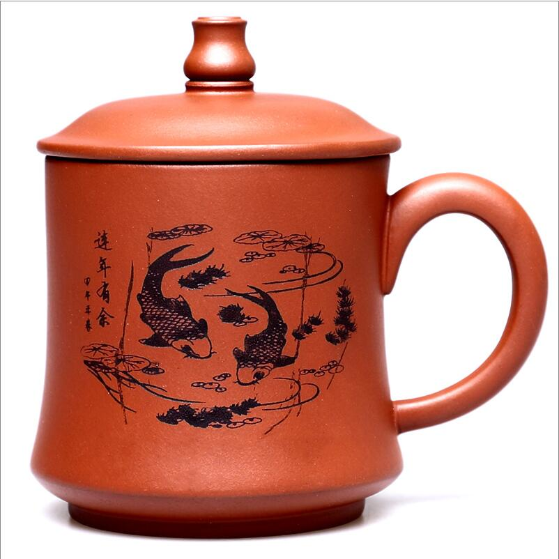 400ml/pcs teaset Round purple queen of Puer Filter tea cup ceramic cups office cups gift travel kung fu for teas Mug