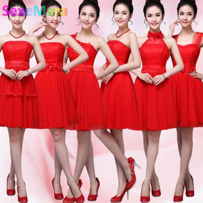 Vestidos rojos cortos para damas de honor