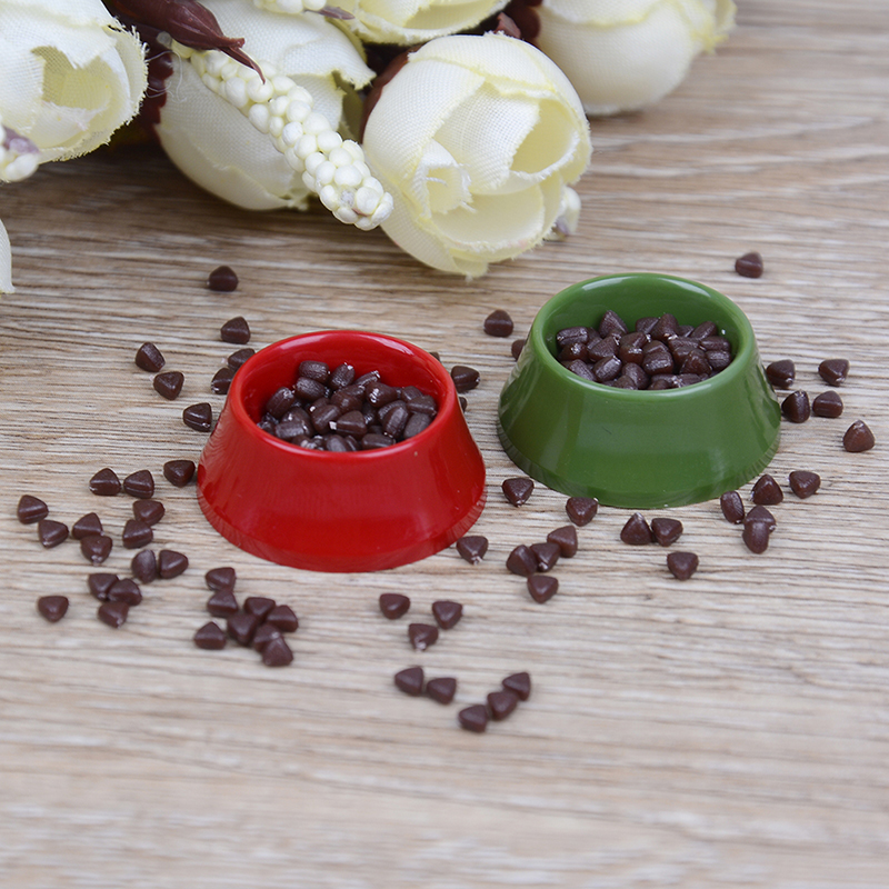 1//12 scale Doll House Miniature Kitchen Garden Pet Dog Food on Red