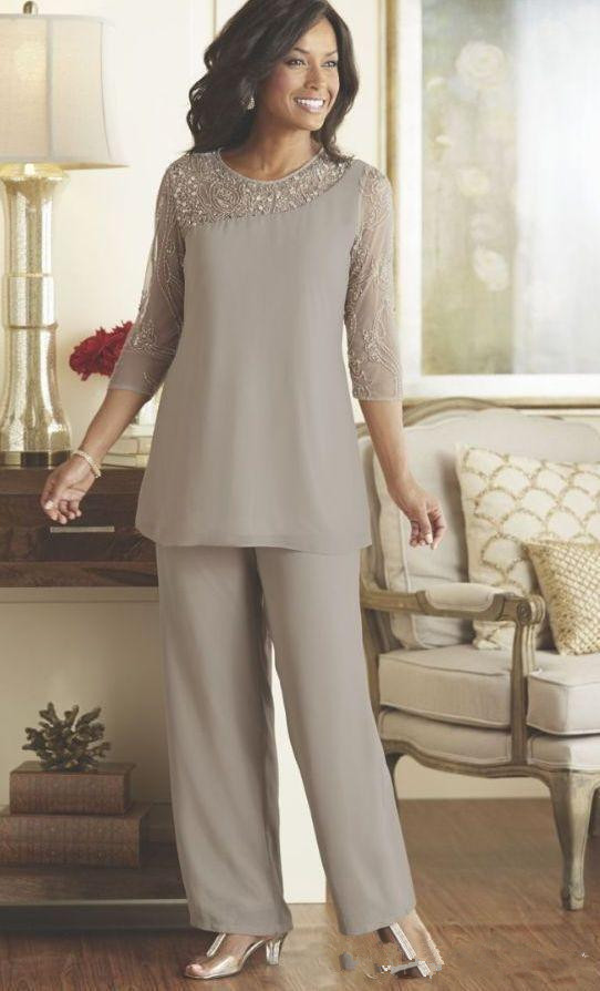 Silver 2019 Mother Of The Bride Dresses Sheath 3/4 Sleeves Chiffon Beaded Pants Formal Groom Long Mother Dresses For Wedding