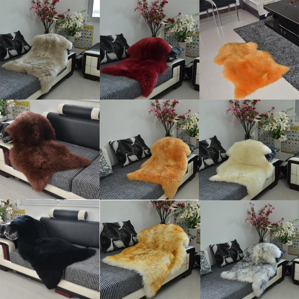 Luxe Faux peau de mouton agneau naturel Long laine fourrure tapis tapis tapis chambre