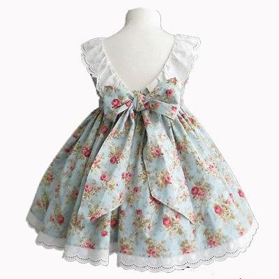 Helen115 Lovely Kids Girl Summer Summer Floral Printed Sleeveless Leak Back Dress 2-7Years