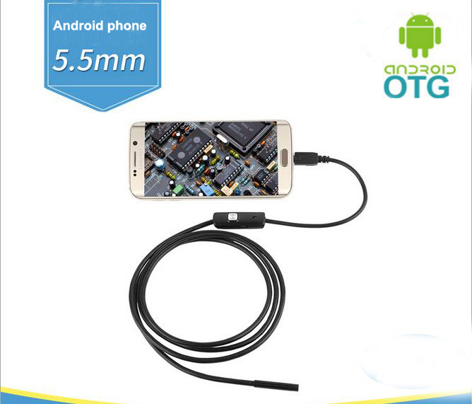 5.5mm Focus Camera Lens 1.5M Waterproof 6 LED Android OTG Endoscope Mini USB Cable Endoscope Inspection Camera 7mm lens mini usb android endoscope camera waterproof snake tube 2m inspection micro usb borescope android phone endoskop camera