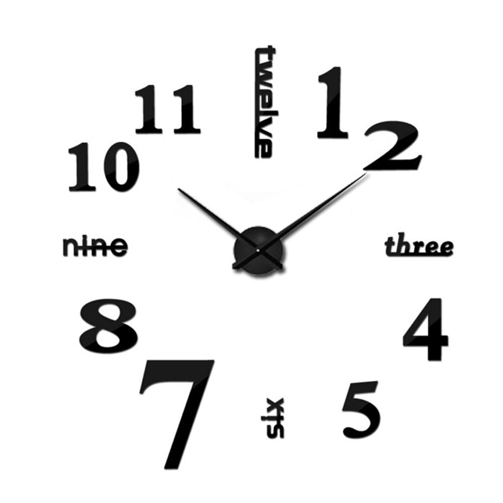 DIY 3D зеркальные настенные наклейки настенные часы художественная роспись домашний Декор Гостиная ТВ Фоновые наклейки настенные часы кварцевые иглы - Цвет: G Black