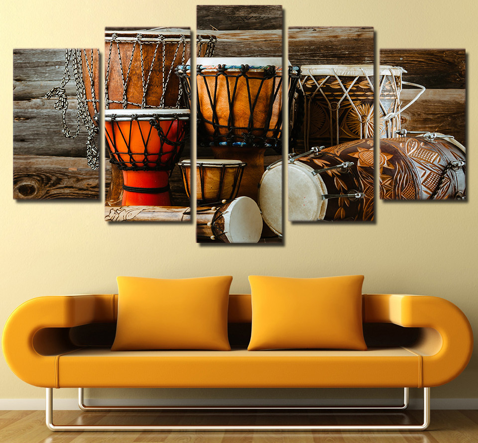 HD Printed 5 Piece Canvas Art Vintage Drums Stick Painting Modular ...
