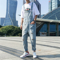 High Quality Broken Hole Light Blue Bib Jeans Male Trend Wild Mens Jumpsuit Super Handsome Couple Overalls