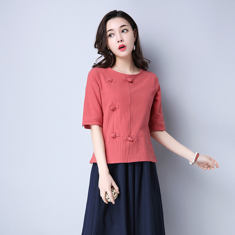 Cotton 2018 Summer Half Sleeve Loose Lady Vintage Women Shirt O Neck Chinese Style Linen T-Shirt Button 3XL 6