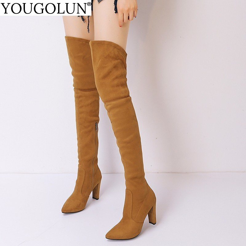 YOUGOLUN Women Thigh High Boots Autumn Winter Fashion Lady Pointed toe Zipper Shoes Woman Over The Keen High Square Heels #B008