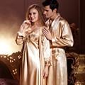 Top Fashion Couple Bathrobes Solid Full Sleeve Robes For Men Women Imitation Silk Sleepwear Soft Pijama Free Shipping 7224/7222