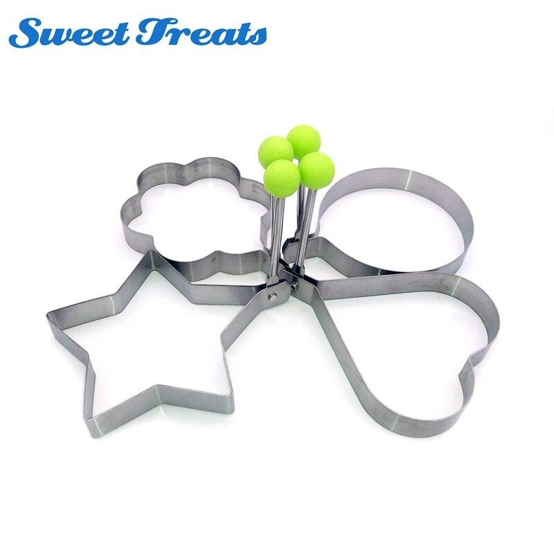 4 teile/los Ei Form Edelstahl Runde Blume Herz Form Omelett Form Keks Braten Ei Ringe Mold Kochen Frühstück Werkzeuge