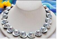 Z4604 натуральные 100% реальные огромный 18 20 мм серый южного моря mabe жемчужное ожерелье прекрасных женщин свадьба ювелирные довольно