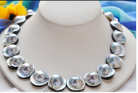 z4604 NATURAL 100% REAL HUGE 18 20mm gray south sea mabe pearl NECKLACE Lovely Women's Wedding Jewelry Pretty!