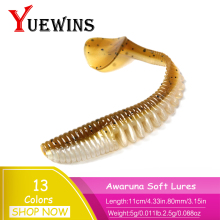 Купить с кэшбэком YUEWINS Awaruna Fishing Lures shad Worm 11cm 5g Wobblers Swimbait Carp Silicone Soft Lure Artificial Baits Fishing Tackle TP1181