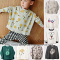 New Bobo Choses Glasses Rabbit Sweatshirts T-shirt Autumn Winter 2016 Kids Full Long Sleeve Baby Boys Girls Desk Spoons Tops Tee