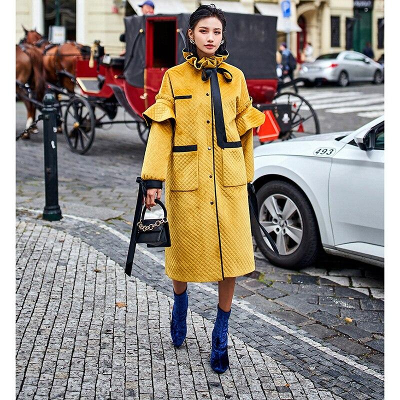 Chaud En Mode Femelle De Coton Vêtements Nouveau Long Veste Jacket D'hiver Manteau 2019 Épais Yellow Ananas Femmes ZXOPkiu