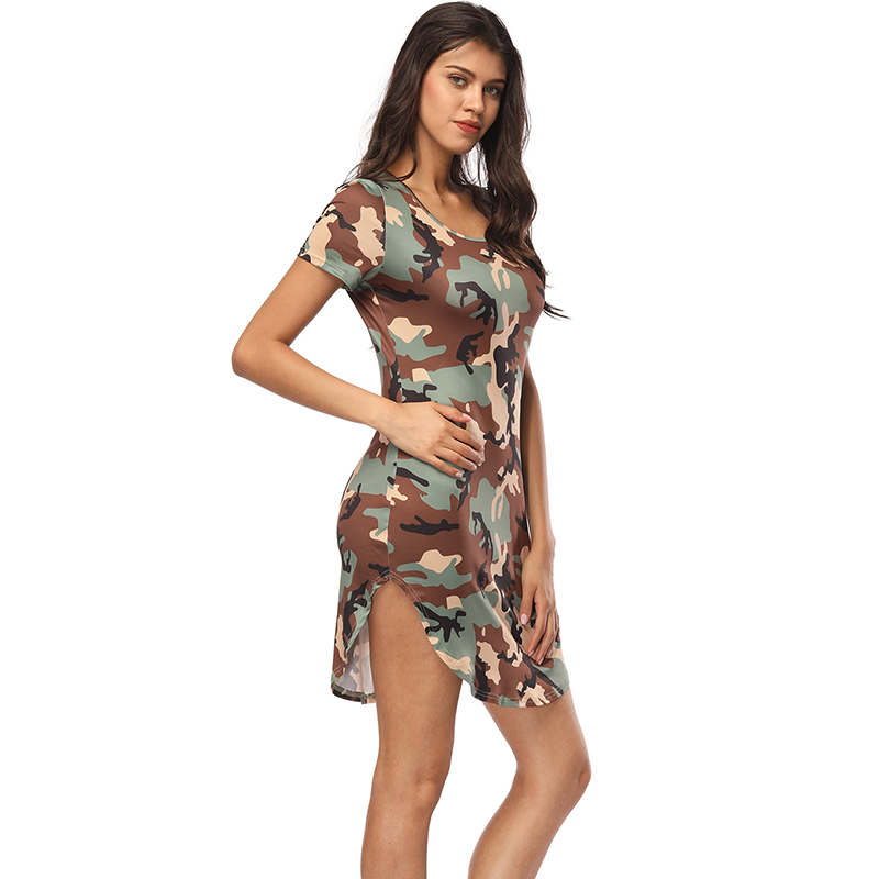 Fashion 2017 Women Summer Dress Short Sleeve Sexy Mini Dresses women Green Camouflage Print Plus Size Woman Vestidos
