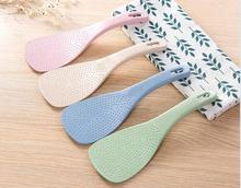 1PC Lovely Kitchen Ladle Non Stick Rice Paddle Meal Spoon Wheat Straw PP Household Plastic Non-Stick Rice Spoon NX 026