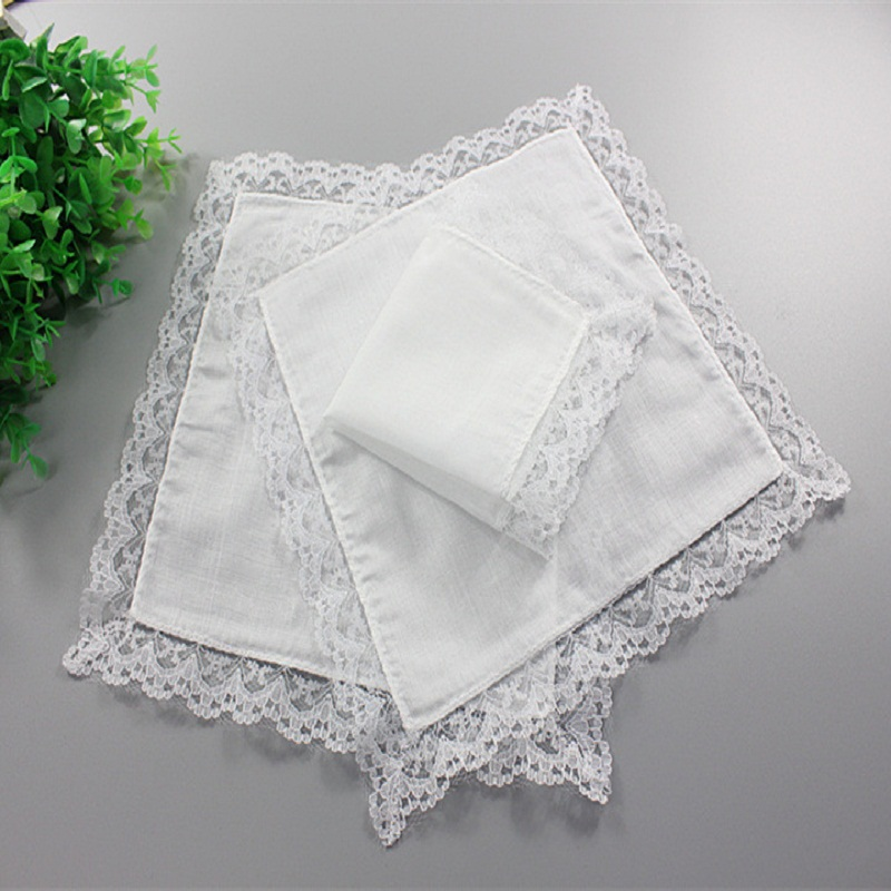 12pcs/lot Personalized White Lace Handkerchief, Woman Wedding Gifts, Wedding Decoration Cloth Napkins 23*25cm