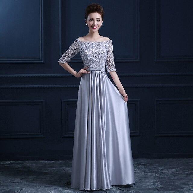 Silver Long Sleeve Bridesmaid Dress - Wedding Dress Ideas