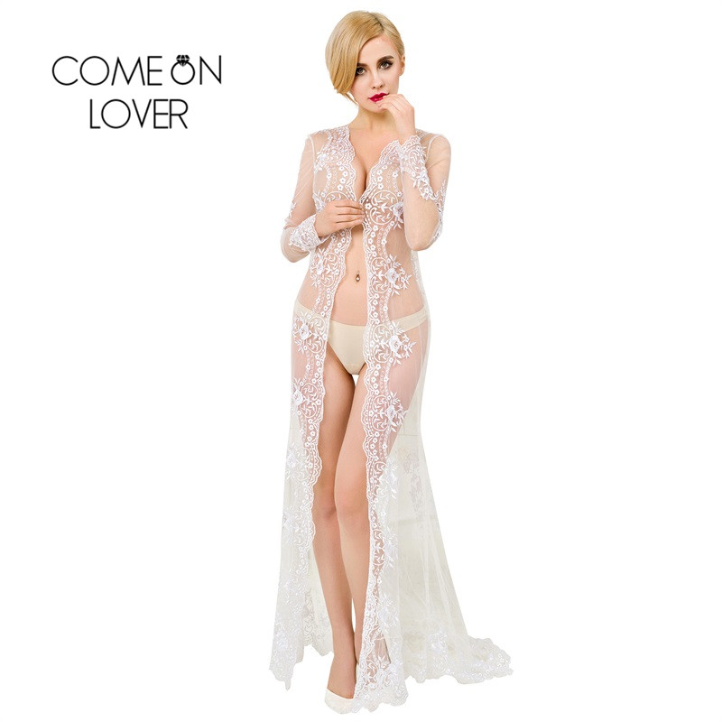 VI1019 Comeonlover Exotic Hot Lace Pure White Wedding Robe Lingerie Long Night Gown Sheer Transparent Women Bride Lingerie Gown