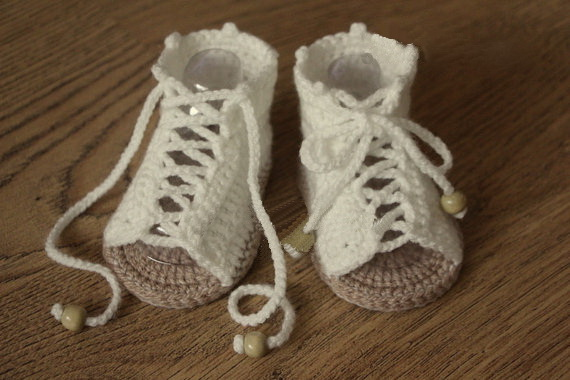 Free Shipping Cream And Tan Crochet Baby Sandals Baby Gladiator
