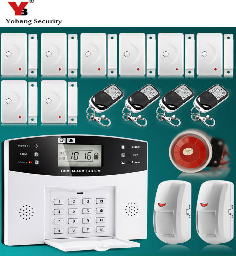 YoBang Security LCD Keyboard Voice Tip Wireless GSM SMS Home Security Alarm System 433MHZ PIR Door And Window Alarm Sensor. yobang security lcd screen 433mhz remote control home security system gsm alarm system wireless pir motion door window sensor