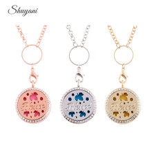 10pcs/lot Fashion 30MM Round Crystal Essential Oils Aromatherapy Locket Perfume Diffuser Necklace with Letter Blessed
