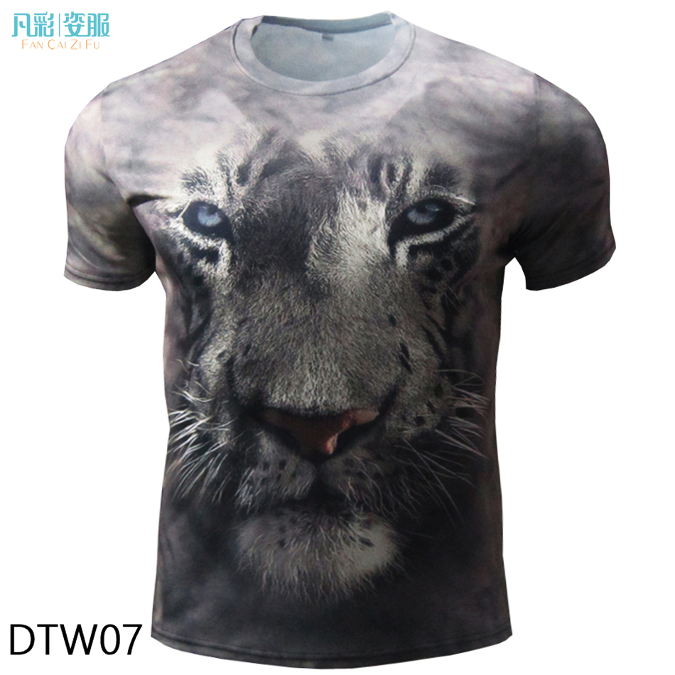 Custom printed 3d t shirt men lion funny t shirts animal for Custom printed dress shirts