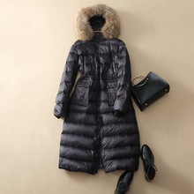 high quality women's real raccoon fur collar 100% white duck down very long down Parkas Wadded Coat Thick snow outerwear coat
