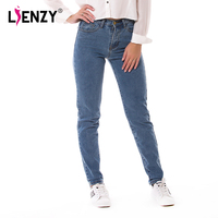 New 2016 Spring One Piece Casual Women Jeans High Waist Loose Straight Light Washed Blue Retro