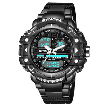 Men Sports Watches Dual Display Analog Digital LED Electronic Quartz Wristwatches 50M Waterproof Swimming Military Watch #4M18#F