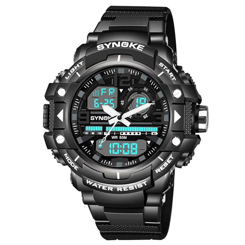 Men Sports Watches Dual Display Analog Digital LED Electronic Quartz Wristwatches 50M Waterproof Swimming Military Watch #4M18#F men sports watches dual display analog digital led electronic quartz wristwatches waterproof military watch reloj hombre skmei