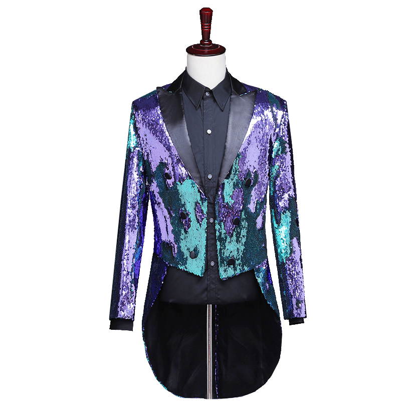 Reflector láser para hombre Swallowtail Gold Purple Tail abrigos noche Club moda Variable colores colas mago cantante baile disfraz - 4