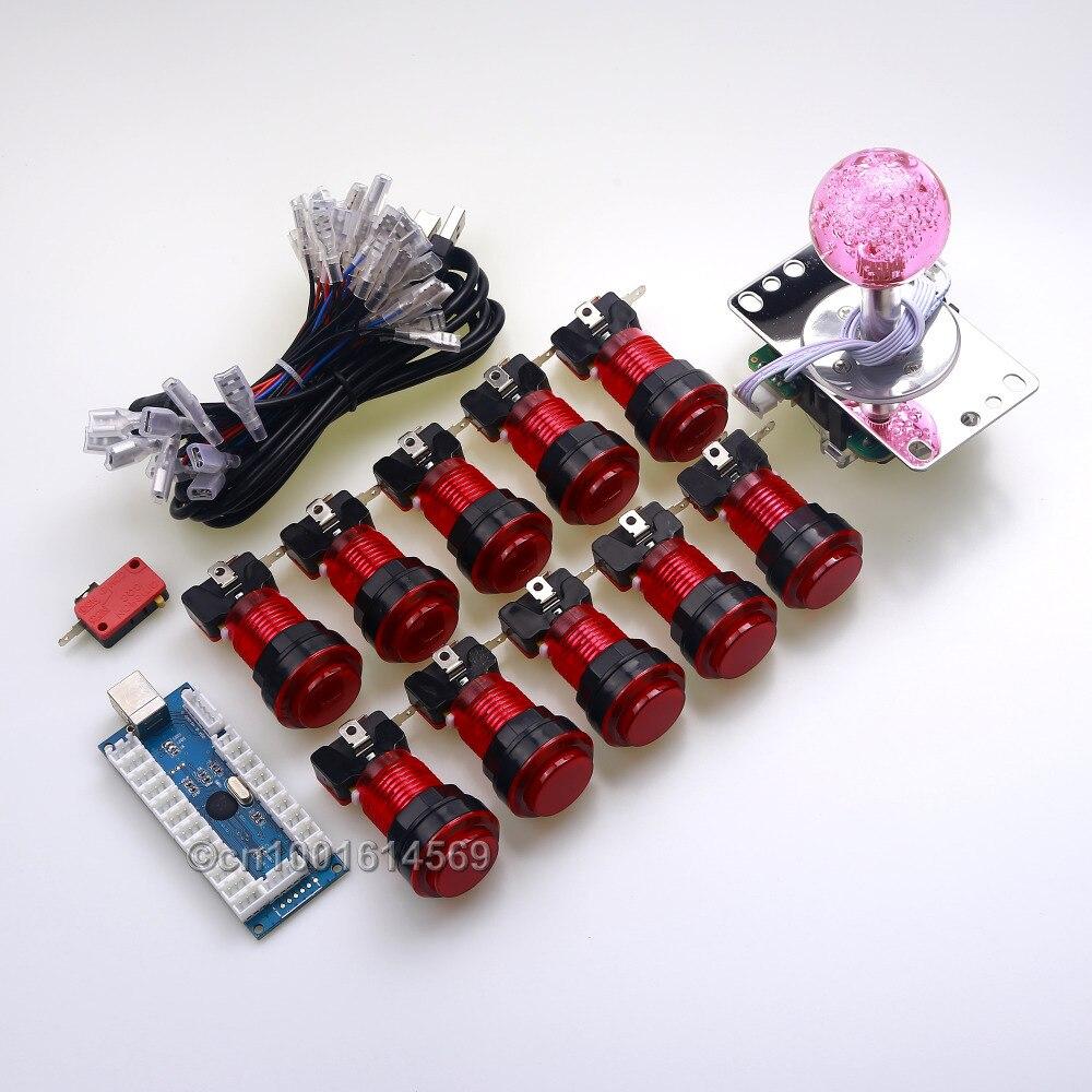 New Reyann Arcade DIY Kits Parts USB PC Encoder +5 Pin 4/8 Way LED Joystick + 10pcs LED Light Push Buttons For MAME Cabinet Game