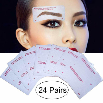 12 Pairs Eyebrow Stencil Stickers Eyebrow Drawing Card Template DIY Makeup Tools SK88