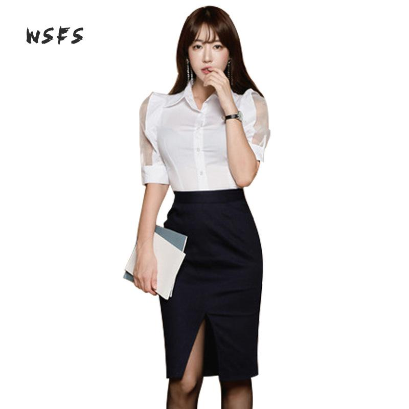 2 Pieces Sets White Shirts Blouses Tops Turndown Puff Sleeve Mesh Black Mini Skirts Bandage Pencil Midi Office Lady Suit Dress Pleasant To The Palate