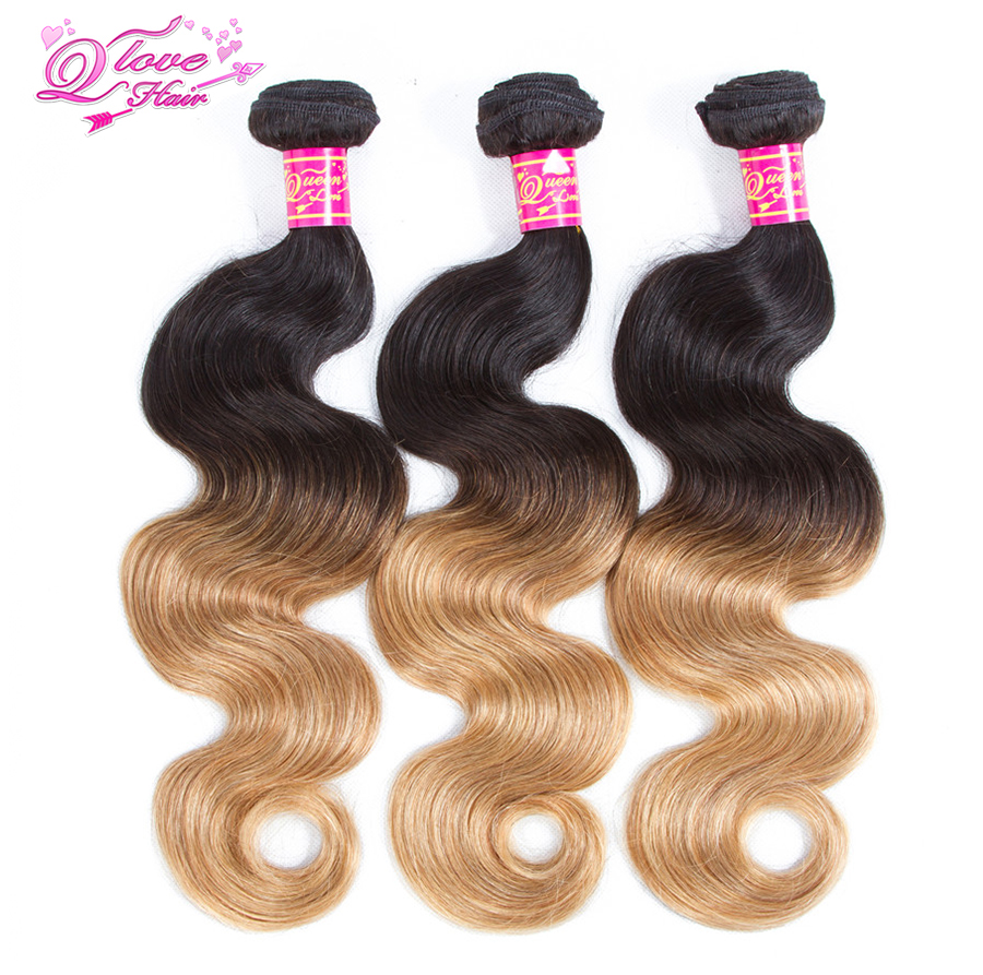 Queen Love Hair Malaysian Body Wave Bundles Pre-Colored 1B/27 Human Hair Extension Colorful Non-Remy Hair Free Shipping