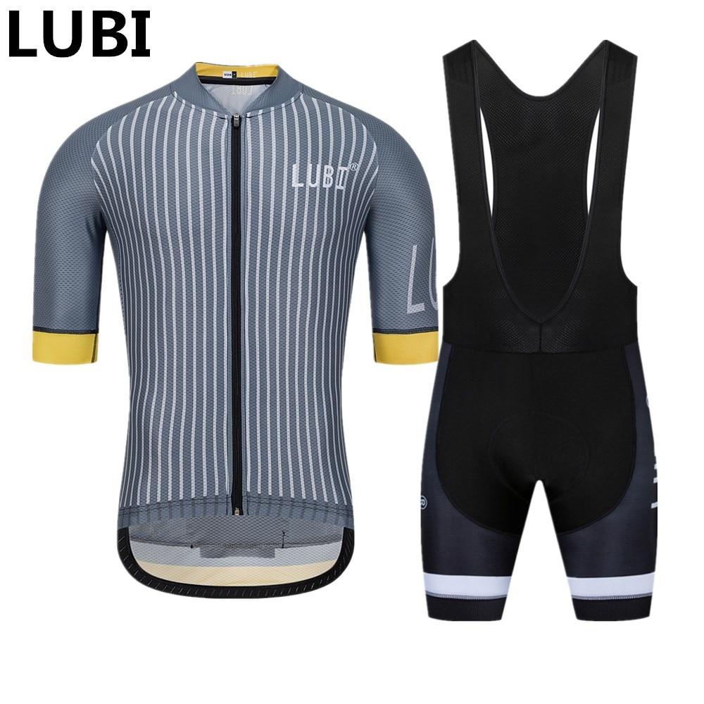 LUBI hommes été cyclisme Jersey ensemble porter antichoc Gel Pad vtt collants vêtements Kits vélo vêtements route costume Ropa Ciclismo Hombre