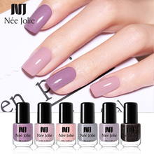 NEE JOLIE 3.5ml Pure Nail Color Shimmer Polish 18 Colors Pink Purple Gray Series Glimmer Fast Dry Art Varnish Design