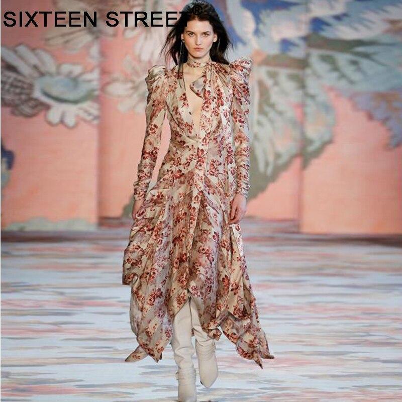 2019 nouveau vintage floral imprimer maxi robe femme à manches longues col en V à lacets robes de designer de piste pour dame