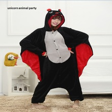 Cartoon animal conjoined Bat Kigurum Onesies Unisex Adult Flannel Hooded Pajamas Children Cosplay Cute Animal Sleepwear
