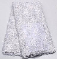 White Beaded Pearl Lace Fabric French Lace Fabric With Beaded High Quality Guipure Lace Fabric For