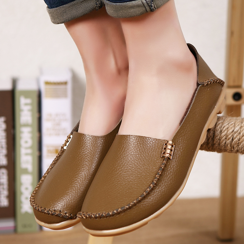 Shoes Woman 2016 Genuine Leather Women Shoes Flats 16 Colors Loafers Slip On Women's Casual Flat Shoes Moccasins Plus Size 34-44 casual shoes 2016 fashion genuine leather loafers moccasins slip on flats shoes black golden sliver 3 colors