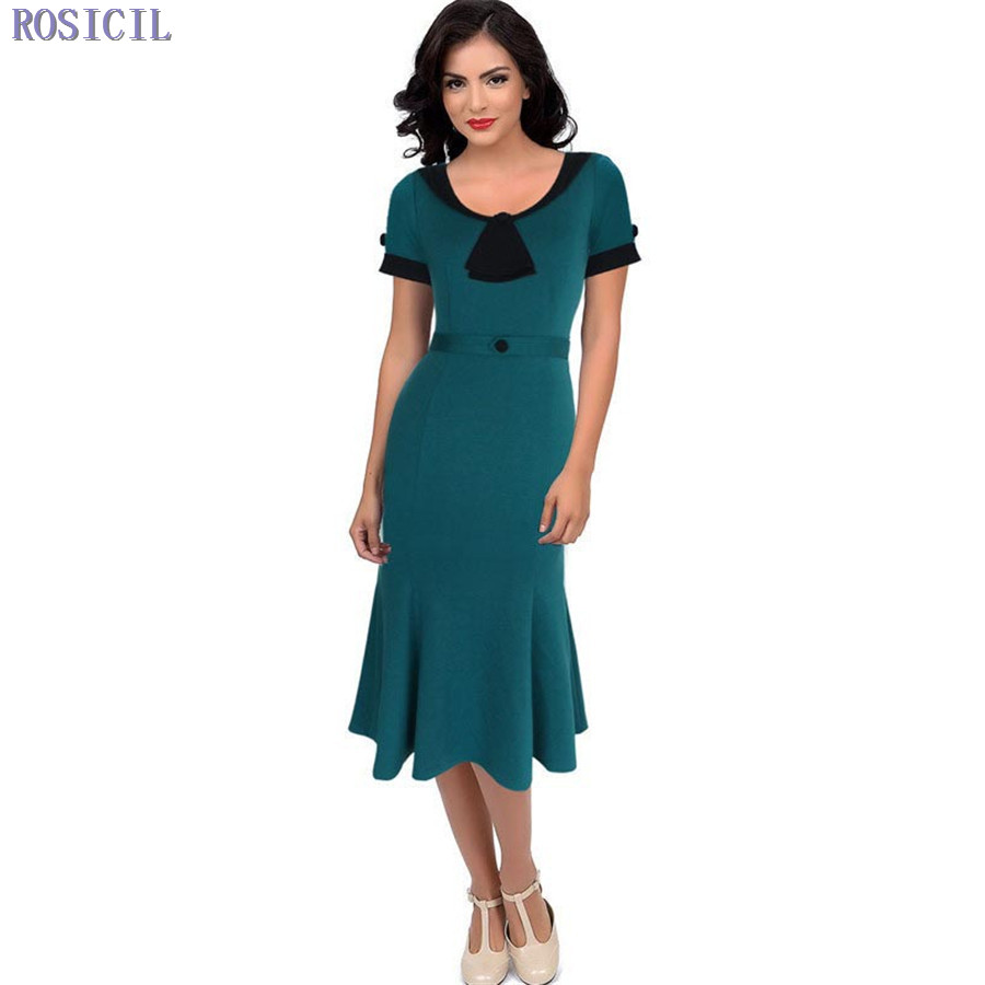 ROSICIL Women Elegant Slimming Work Office Dresses Ladies ...