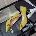Nueva Primavera Verano Rebaño de Tacón Medio Zapatos de Gamuza Señaló Zapatos de tacón alto Bowknot Dulce OL Oficina zapatos de Tacón Alto de Las Mujeres Zapatos de G315