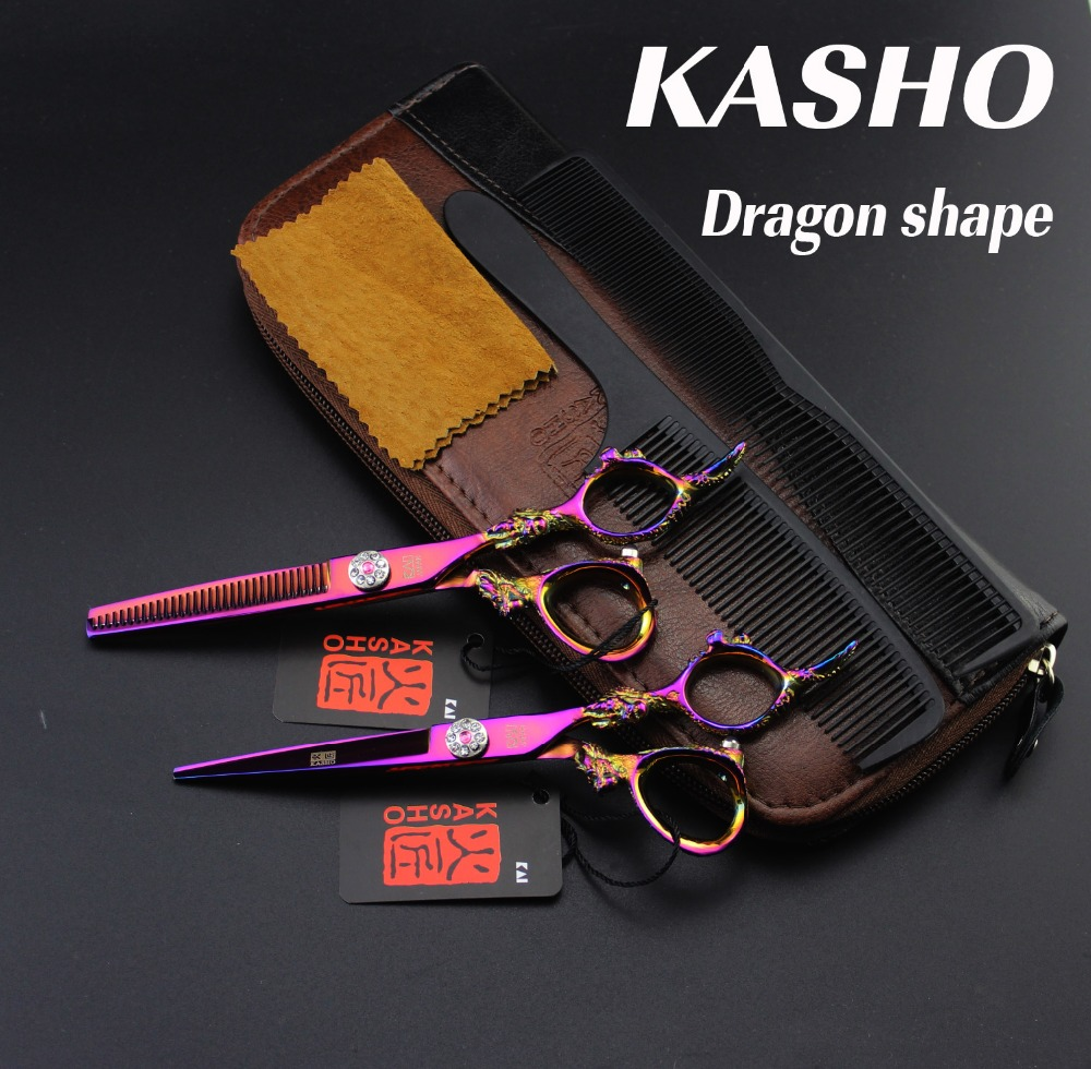 6.0 inch KASHO Dragon pen Professional Hair scissors set,Cutting&Thinning scissors Barber Shears Tijeras Pelo High Quality 6 inch professional hairdressing scissors set cutting and thinning barber shears high quality dragon handle ruby style